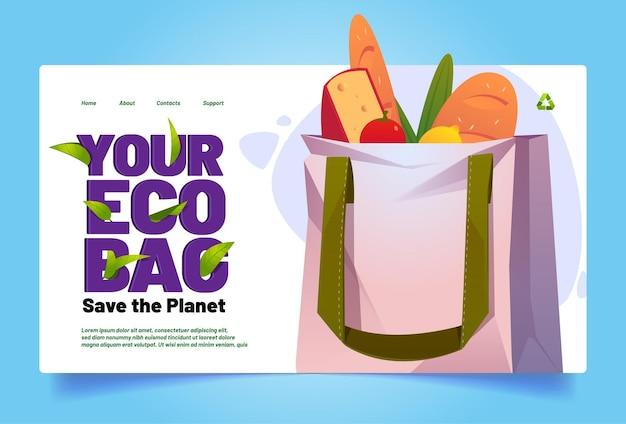 Bolsa ecológica save planet banner com bolsa de algodão