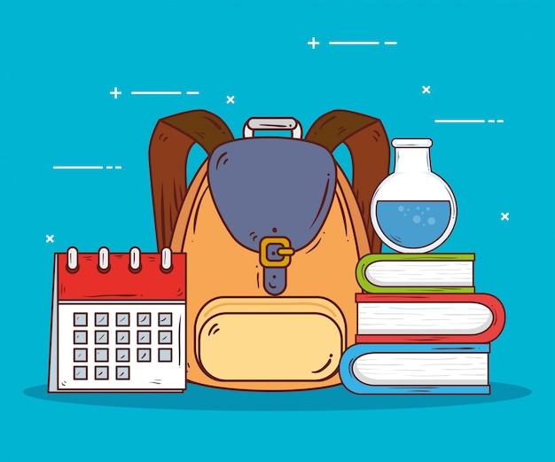 Bolsa escolar com material escolar