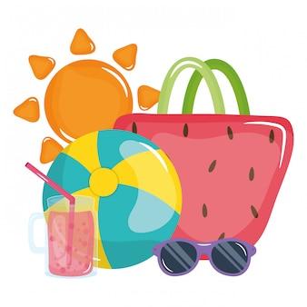 Bolsa feminina com óculos de sol e conjunto de ícones