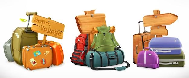 Bolsa, mochila, mala e placa de madeira