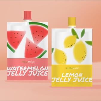 Bolsa ou pacote de geléia de suco de melancia e limonada
