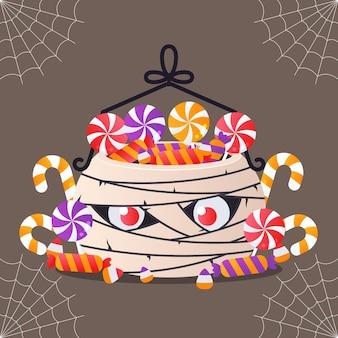 Bolsa plana de múmia de halloween