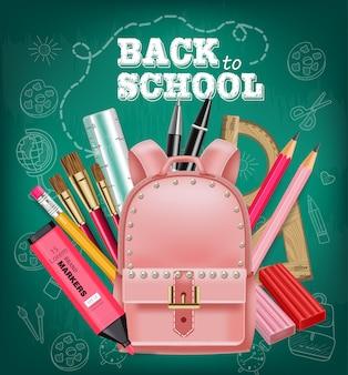 Bolsa rosa de volta ao cartão da escola
