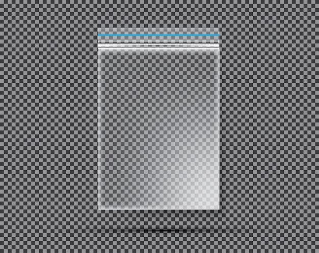 Bolsa transparente de náilon ou polietileno com fechadura ou zip.