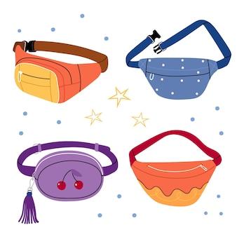 Bolsas de cintura coloridas elegantes e modernas.