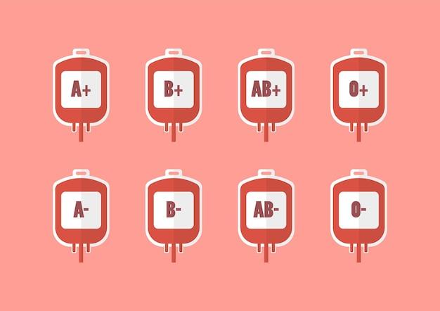 Bolsas de sangue com ilustração do vetor de tipos de sangue. ilustração em vetor estilo simples