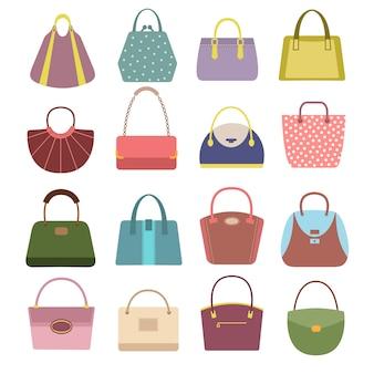 Bolsas e bolsas de couro para senhora.