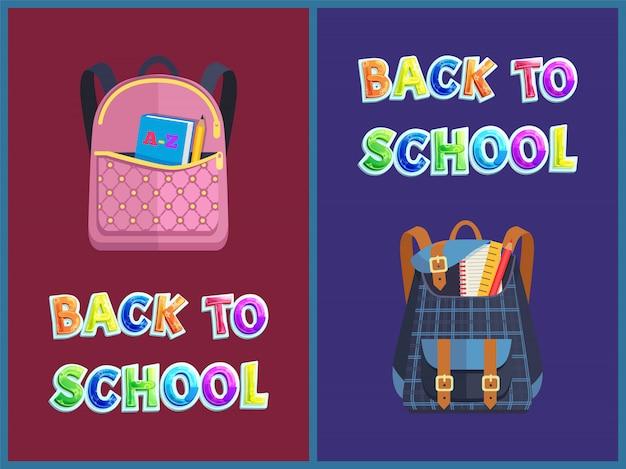 Bolsas girlie e unisex de volta à escola