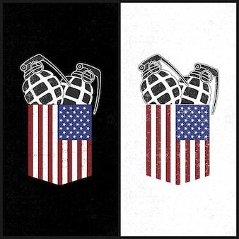 Bolso americano da ilustração e granada