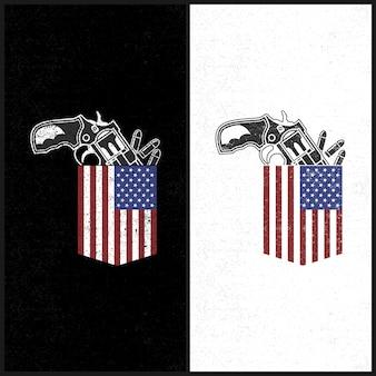 Bolso americano da ilustração e revólver