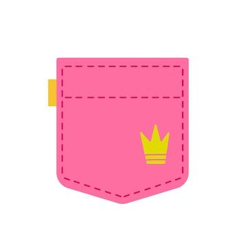 Bolso jeans rosa bonito. roupas femininas. modelo de texto e temas. ilustração vetorial no estilo cartoon plana. clipart isolado na diversão de fundo branco.