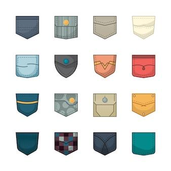 Bolsos coloridos. remendos e bolsos de tecido para coleção de jaquetas jeans de camisa de bolsas de roupas