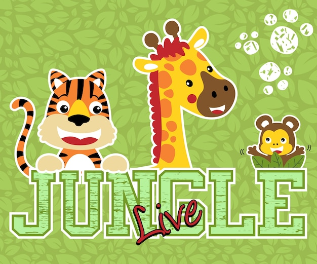 Bom animais dos desenhos animados no fundo de folhas
