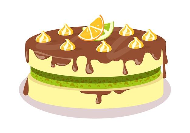 Bom apetite. ilustração de bolo festivo chocolate