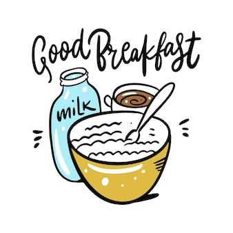 Bom café da manhã cereal com leite e caneca de café. desenho e letras. isolado no fundo branco. estilo de desenho animado.