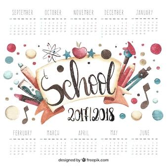 Bom calendário escolar de materiais de aquarela
