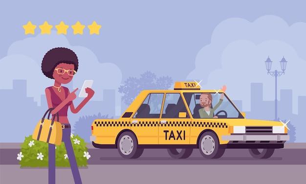 Bom carro e motorista no sistema de aplicativos de classificação de táxi