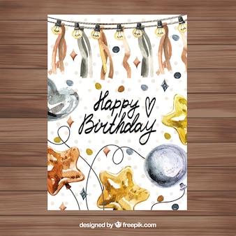 Bom cartão de aniversário de aquarela
