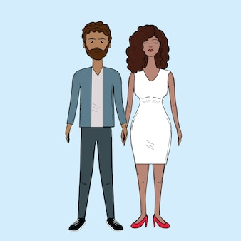 Bom casal com penteado e desgaste elegante