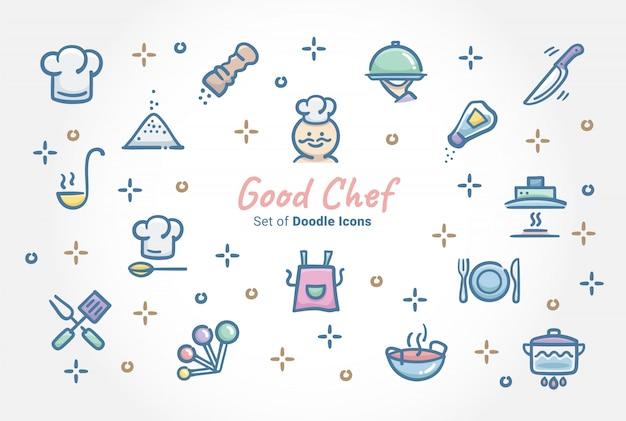 Bom chef doodle conjunto de ícones