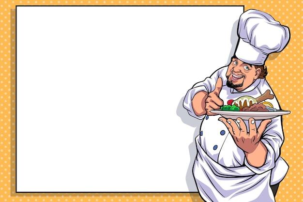 Bom chef polegar para cima carregando comida e um quadro branco em branco para o menu pop art comic style