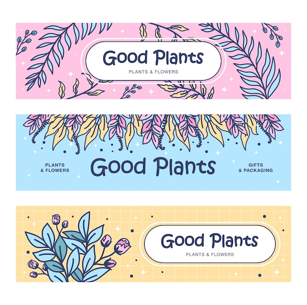 Bom conjunto de banners de plantas