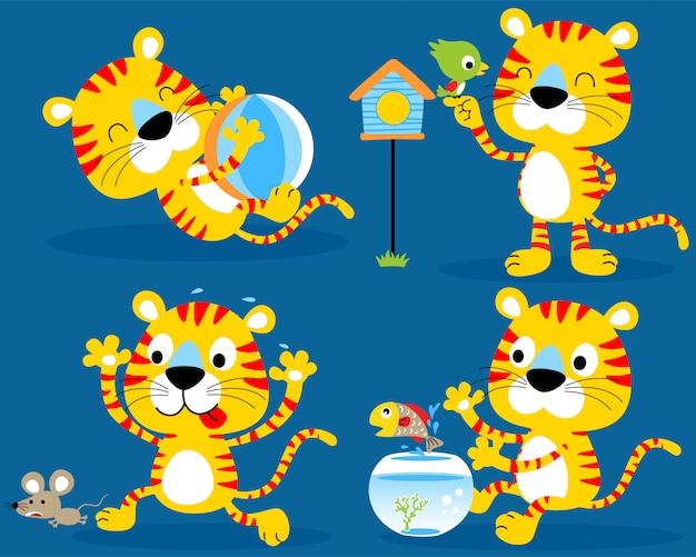 Bom conjunto de gatinho dos desenhos animados
