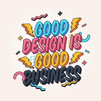 Bom design e negócios famoso citação letras cartaz