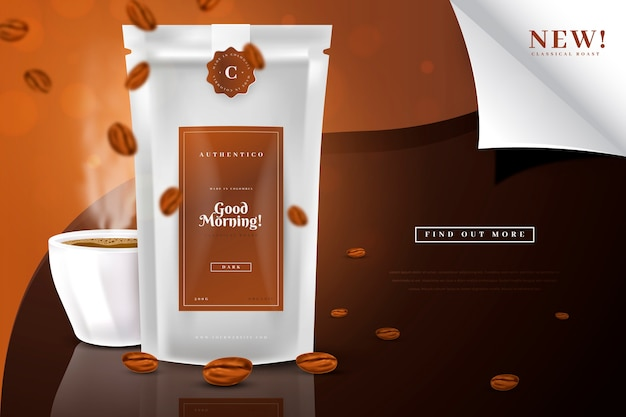 Bom dia anúncio de produto para beber café