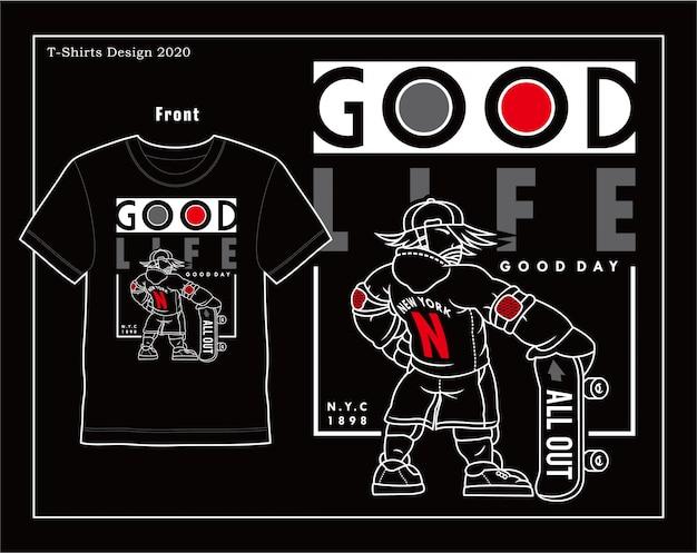 Bom dia boa vida, tipografia vetorial desenho de ilustração de skate