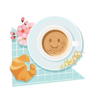 Bom dia café da manhã com fundo de desenho de xícara de café e croissant. ilustração vetorial