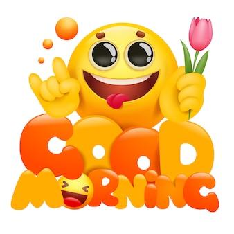Bom dia cartão com personagem de desenho animado emoji amarelo segurando flor tulipa.