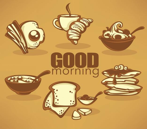 Bom dia, coleção de café da manhã tradicional