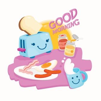 Bom dia com café da manhã fofo
