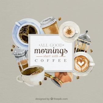 Bom dia com cafés pintados à mão