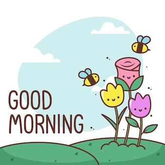 Bom dia com lindas flores e abelhas
