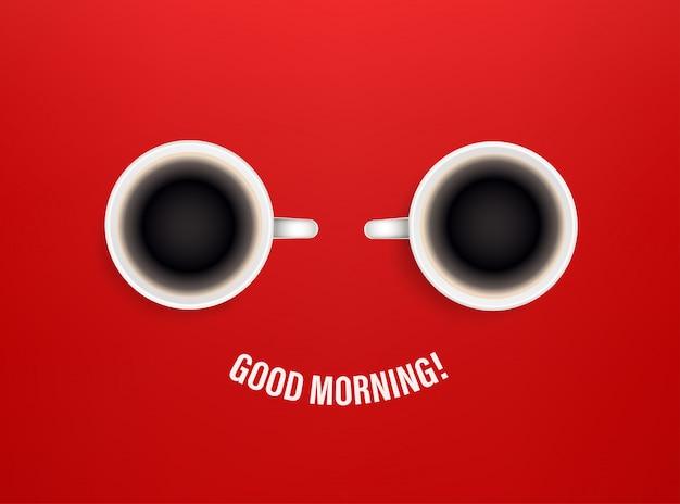 Bom dia conceito com xícaras de café