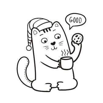 Bom dia ilustração de gato