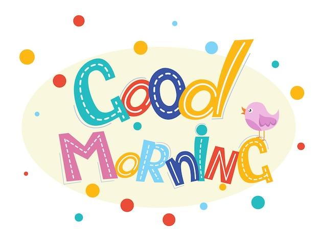 Bom dia letras design de texto para decoração, cartões, impressão, web, cartaz, banner, camiseta