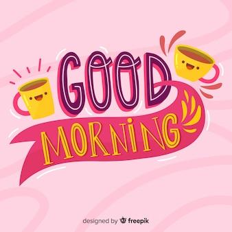 Bom dia letras fundo mão desenhada estilo