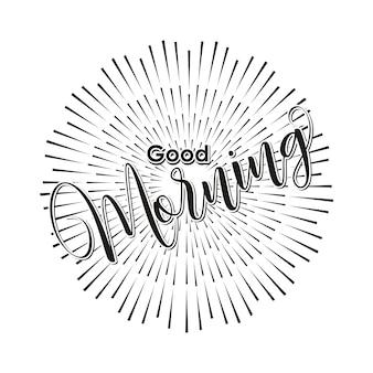 Bom dia mão lettering texto