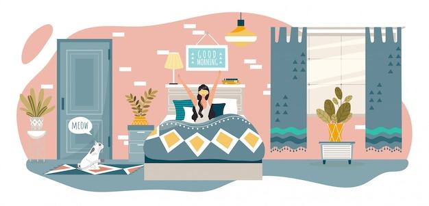 Bom dia na mulher feliz quarto acorda na cama em casa depois de dormir, descanso saudável de pessoas e ilustração do estilo de vida.