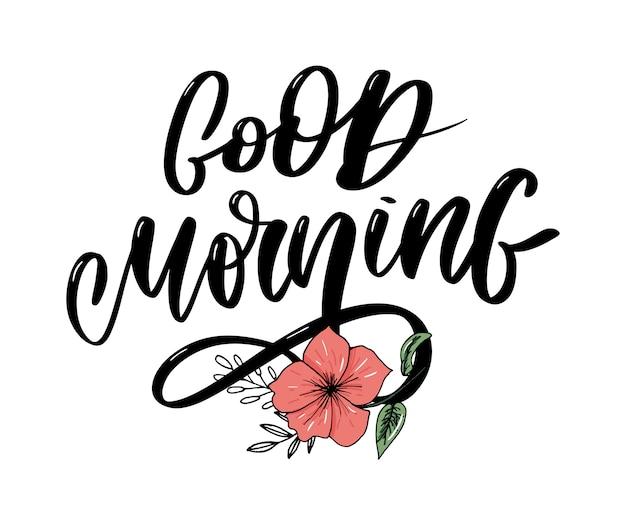 Bom dia rotulação texto slogan caligrafia preto