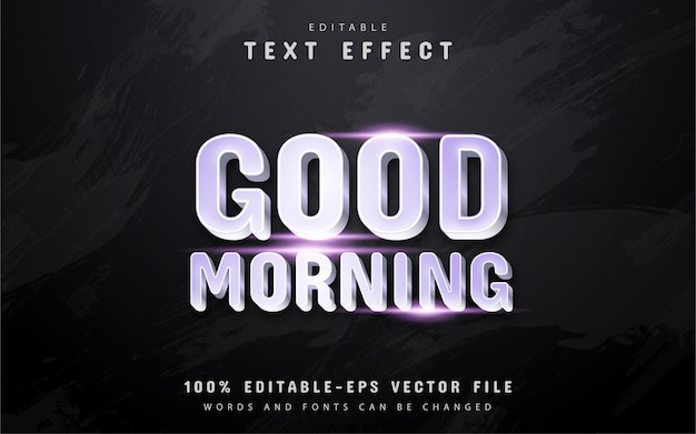 Bom dia, texto, efeito de texto estilo prateado
