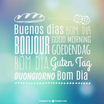 Bom dia tipografia multilíngue
