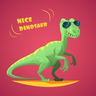 Bom dinossauro verde engraçado em óculos de sol, personagem de desenho animado brinquedo no resumo de impressão de cartaz de fundo vermelho