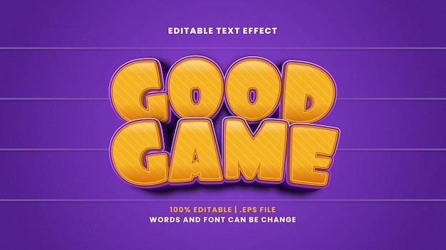 Bom efeito de texto editável no jogo em estilo 3d moderno