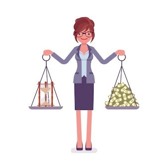 Bom equilíbrio de tempo e dinheiro para mulher de negócios