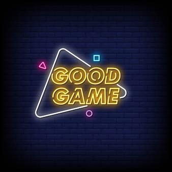 Bom jogo sinais néon estilo texto