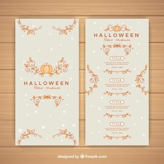 Bom menu de halloween com ornamentos florais